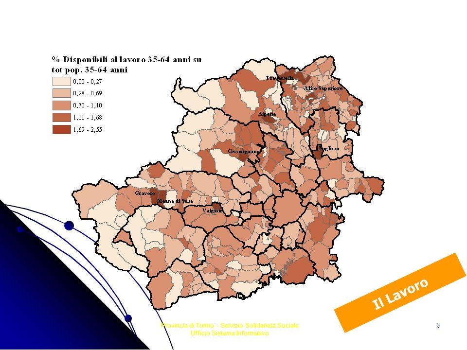 Provincia di Torino - Servizio Solidarietà Sociale Ufficio Sistema Informativo 20 Dinamismo demografico 0, 84 - 2,08 0,39 - 0,83 -0,06 - 0,38 -0,67 - -0,07 -4,56 - -0,68