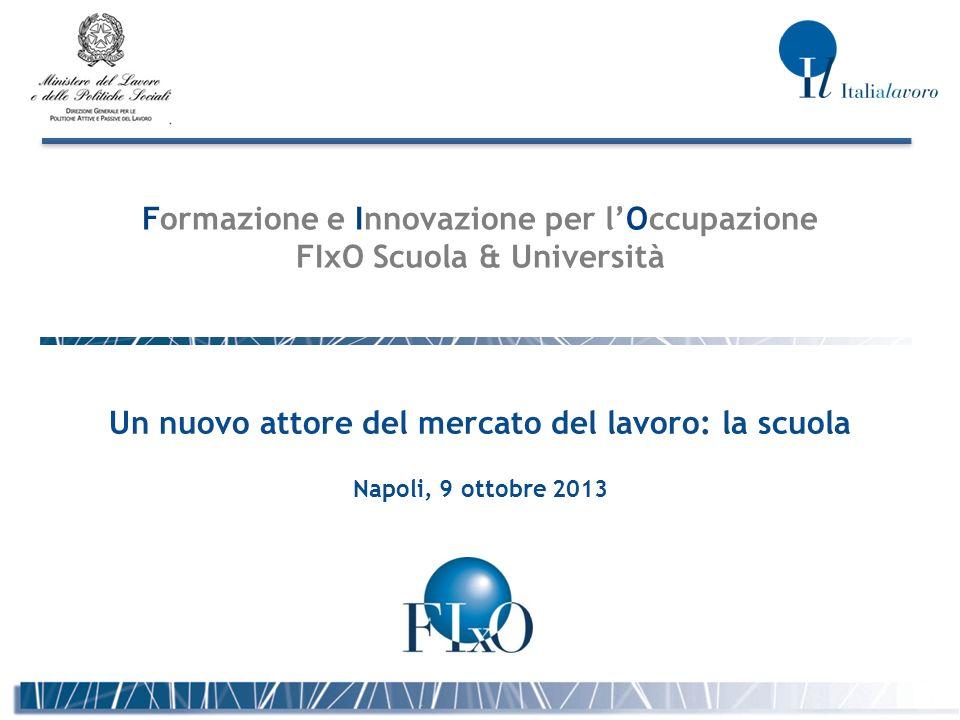 Formazione e Innovazione per lOccupazione FIxO Scuola & Università Un nuovo attore del mercato del lavoro: la scuola Napoli, 9 ottobre 2013