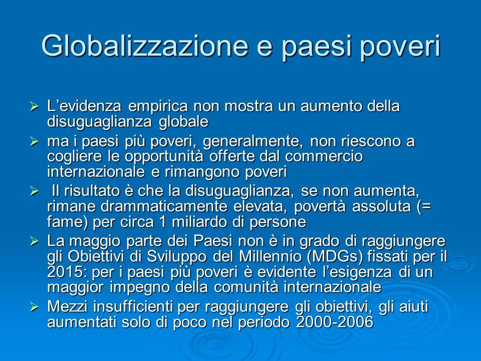Globalizzazione e paesi poveri Levidenza empirica non mostra un aumento della disuguaglianza globale Levidenza empirica non mostra un aumento della disuguaglianza globale ma i paesi più poveri, generalmente, non riescono a cogliere le opportunità offerte dal commercio internazionale e rimangono poveri ma i paesi più poveri, generalmente, non riescono a cogliere le opportunità offerte dal commercio internazionale e rimangono poveri Il risultato è che la disuguaglianza, se non aumenta, rimane drammaticamente elevata, povertà assoluta (= fame) per circa 1 miliardo di persone Il risultato è che la disuguaglianza, se non aumenta, rimane drammaticamente elevata, povertà assoluta (= fame) per circa 1 miliardo di persone La maggio parte dei Paesi non è in grado di raggiungere gli Obiettivi di Sviluppo del Millennio (MDGs) fissati per il 2015: per i paesi più poveri è evidente lesigenza di un maggior impegno della comunità internazionale La maggio parte dei Paesi non è in grado di raggiungere gli Obiettivi di Sviluppo del Millennio (MDGs) fissati per il 2015: per i paesi più poveri è evidente lesigenza di un maggior impegno della comunità internazionale Mezzi insufficienti per raggiungere gli obiettivi, gli aiuti aumentati solo di poco nel periodo 2000-2006 Mezzi insufficienti per raggiungere gli obiettivi, gli aiuti aumentati solo di poco nel periodo 2000-2006