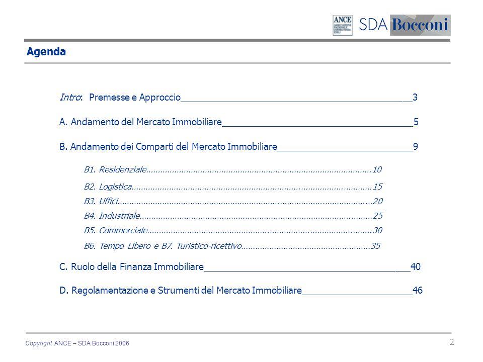 Copyright ANCE – SDA Bocconi 2006 2 Agenda Intro: Premesse e Approccio______________________________________________3 A. Andamento del Mercato Immobil