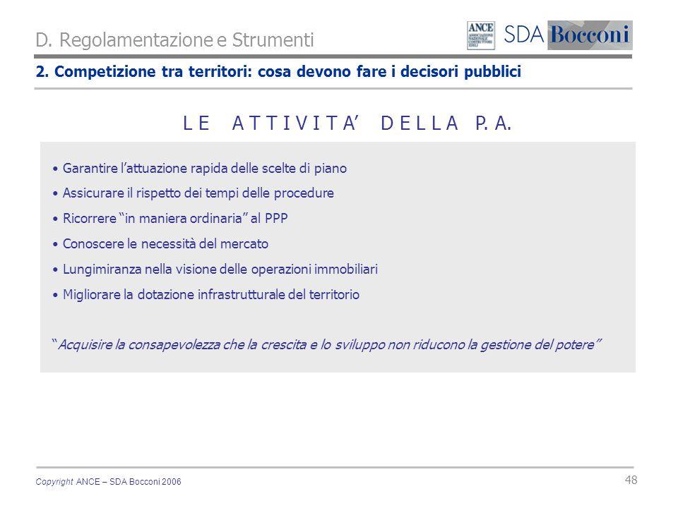 Copyright ANCE – SDA Bocconi 2006 48 2. Competizione tra territori: cosa devono fare i decisori pubblici D. Regolamentazione e Strumenti Garantire lat