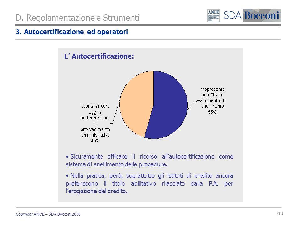 Copyright ANCE – SDA Bocconi 2006 49 3. Autocertificazione ed operatori D. Regolamentazione e Strumenti Sicuramente efficace il ricorso allautocertifi