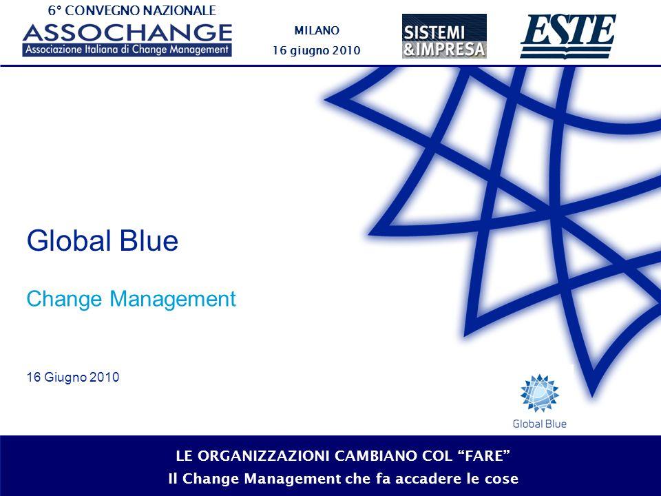 6° CONVEGNO NAZIONALE MILANO 16 giugno 2010 LE ORGANIZZAZIONI CAMBIANO COL FARE Il Change Management che fa accadere le cose Global Blue Change Manage