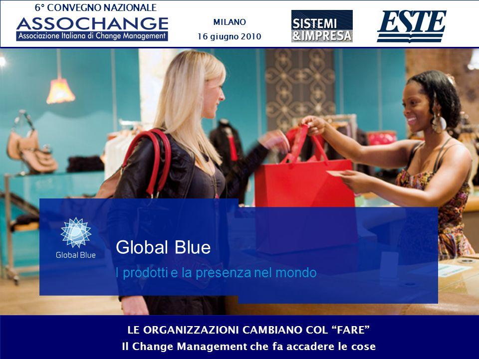 6° CONVEGNO NAZIONALE MILANO 16 giugno 2010 LE ORGANIZZAZIONI CAMBIANO COL FARE Il Change Management che fa accadere le cose Global Blue I prodotti e la presenza nel mondo