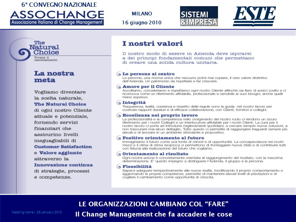 6° CONVEGNO NAZIONALE MILANO 16 giugno 2010 LE ORGANIZZAZIONI CAMBIANO COL FARE Il Change Management che fa accadere le cose Meeting name | 29 January 2010