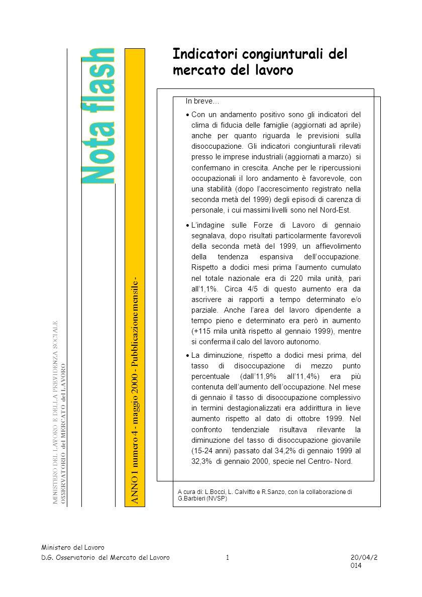 TAVOLE - DISOCCUPAZIONE Ministero del Lavoro D.G. Osservatorio del Mercato del Lavoro 20/04/2014 22