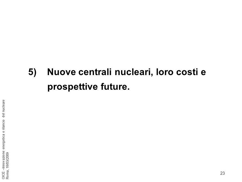 23 OICE –Innovazione energetica e rilancio del nucleare Roma, 18/03/2009 5) Nuove centrali nucleari, loro costi e prospettive future.