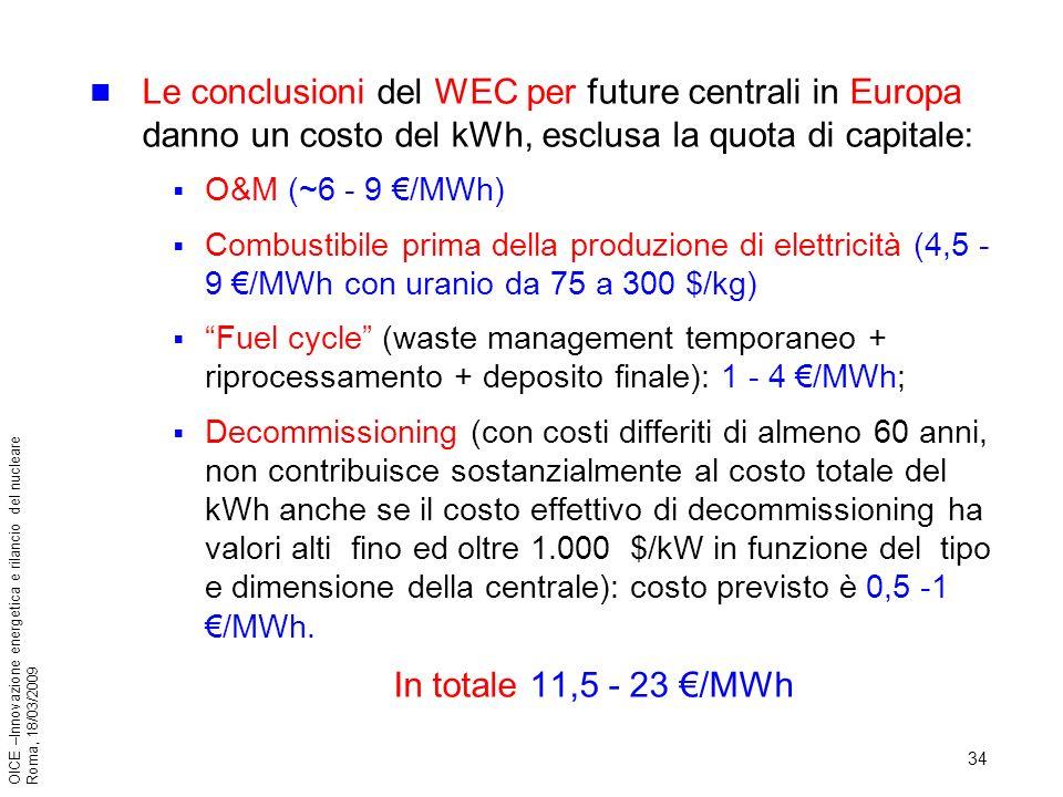 34 OICE –Innovazione energetica e rilancio del nucleare Roma, 18/03/2009 Le conclusioni del WEC per future centrali in Europa danno un costo del kWh, esclusa la quota di capitale: O&M (~6 - 9 /MWh) Combustibile prima della produzione di elettricità (4,5 - 9 /MWh con uranio da 75 a 300 $/kg) Fuel cycle (waste management temporaneo + riprocessamento + deposito finale): 1 - 4 /MWh; Decommissioning (con costi differiti di almeno 60 anni, non contribuisce sostanzialmente al costo totale del kWh anche se il costo effettivo di decommissioning ha valori alti fino ed oltre 1.000 $/kW in funzione del tipo e dimensione della centrale): costo previsto è 0,5 -1 /MWh.
