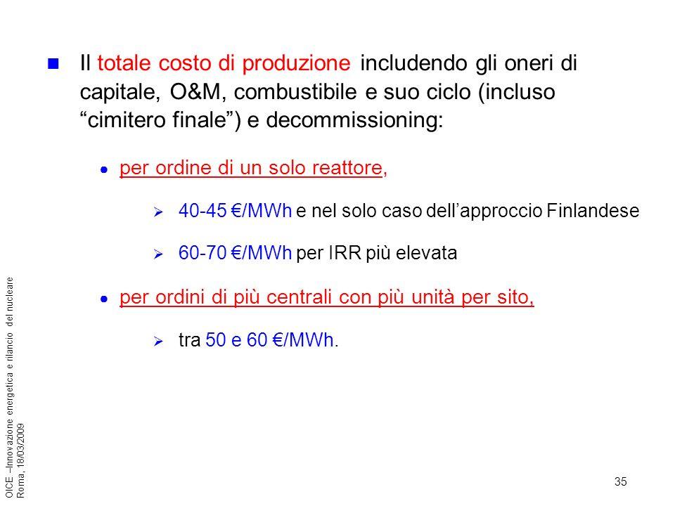 35 OICE –Innovazione energetica e rilancio del nucleare Roma, 18/03/2009 Il totale costo di produzione includendo gli oneri di capitale, O&M, combustibile e suo ciclo (incluso cimitero finale) e decommissioning: per ordine di un solo reattore, 40-45 /MWh e nel solo caso dellapproccio Finlandese 60-70 /MWh per IRR più elevata per ordini di più centrali con più unità per sito, tra 50 e 60 /MWh.