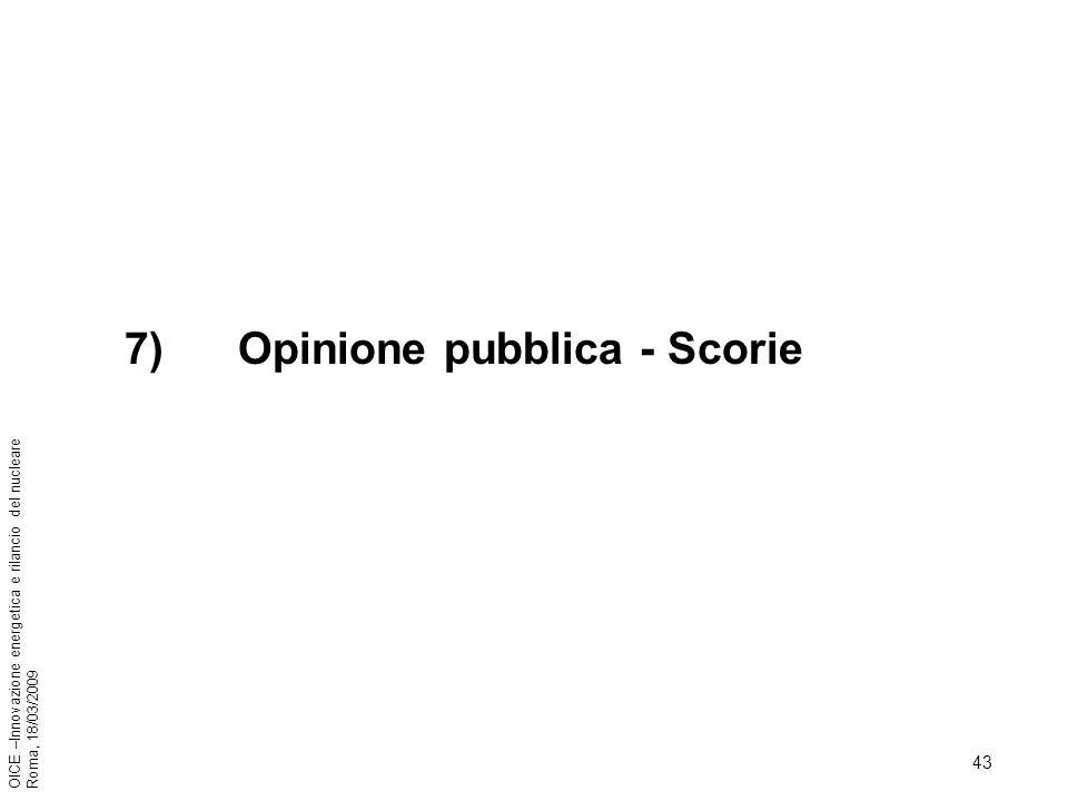 43 OICE –Innovazione energetica e rilancio del nucleare Roma, 18/03/2009 7) Opinione pubblica - Scorie
