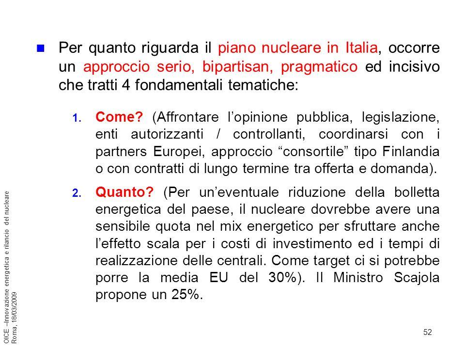 52 OICE –Innovazione energetica e rilancio del nucleare Roma, 18/03/2009 Per quanto riguarda il piano nucleare in Italia, occorre un approccio serio, bipartisan, pragmatico ed incisivo che tratti 4 fondamentali tematiche: 1.
