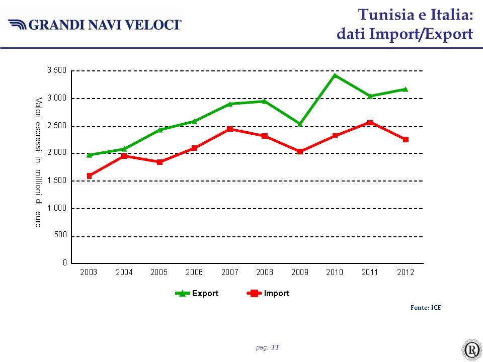 pag. 11 Fonte: ICE Tunisia e Italia: dati Import/Export Valori espressi in millioni di euro