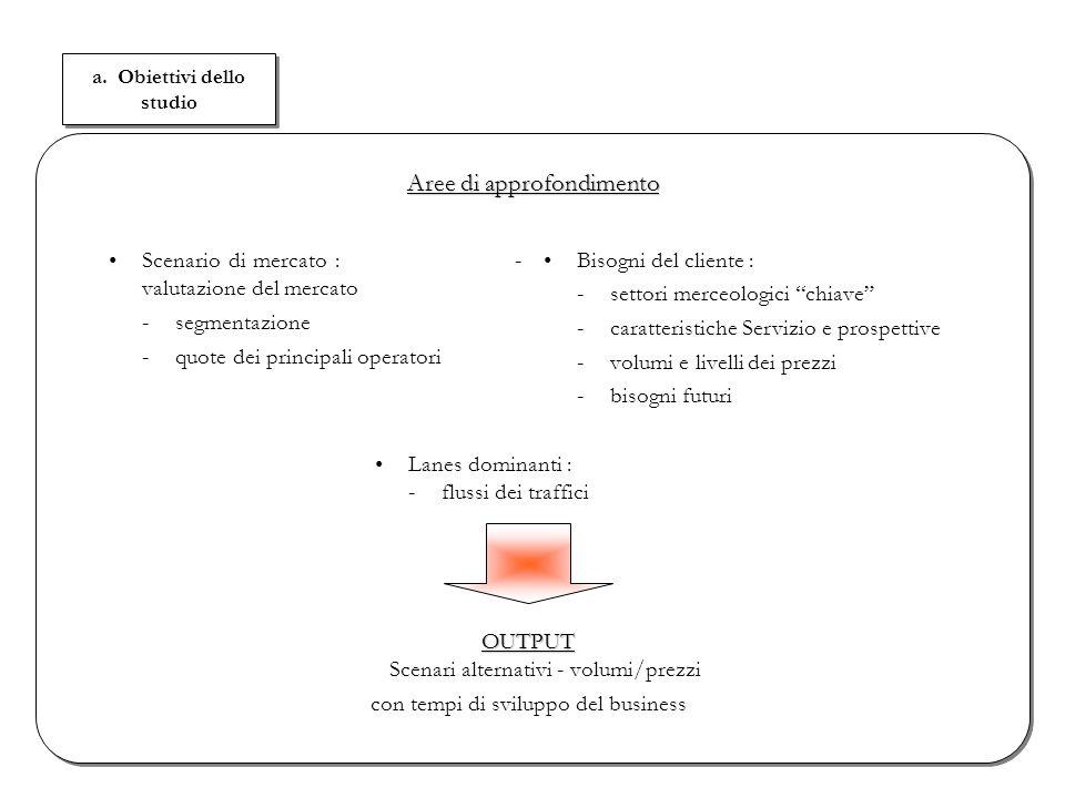 a. Obiettivi dello studio Scenario di mercato : - valutazione del mercato -segmentazione -quote dei principali operatori Aree di approfondimento OUTPU