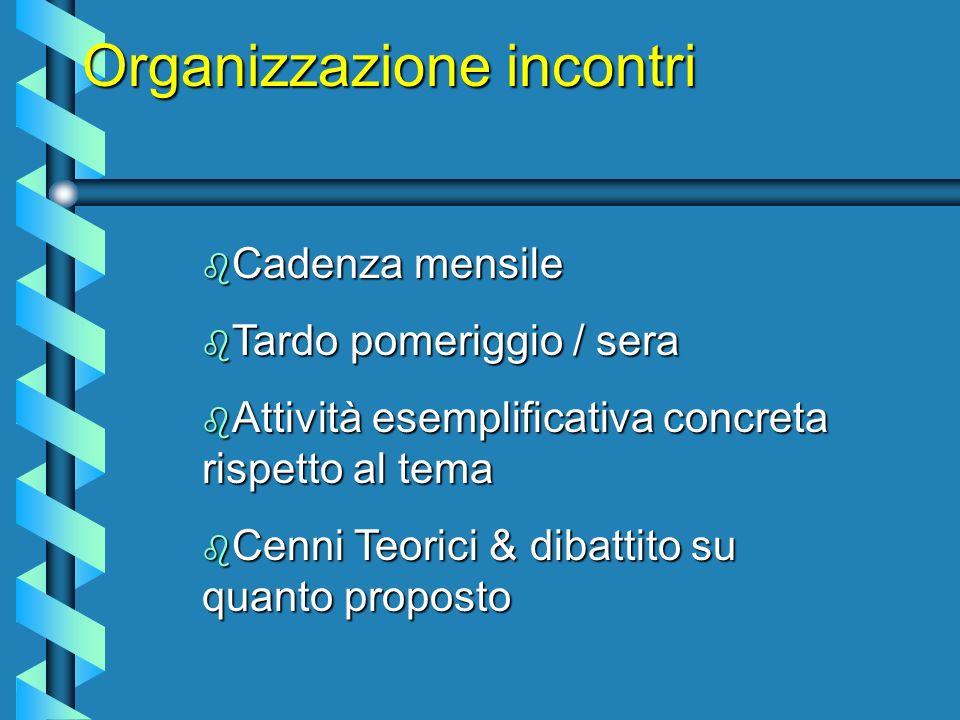 Organizzazione incontri b Cadenza mensile b Tardo pomeriggio / sera b Attività esemplificativa concreta rispetto al tema b Cenni Teorici & dibattito su quanto proposto