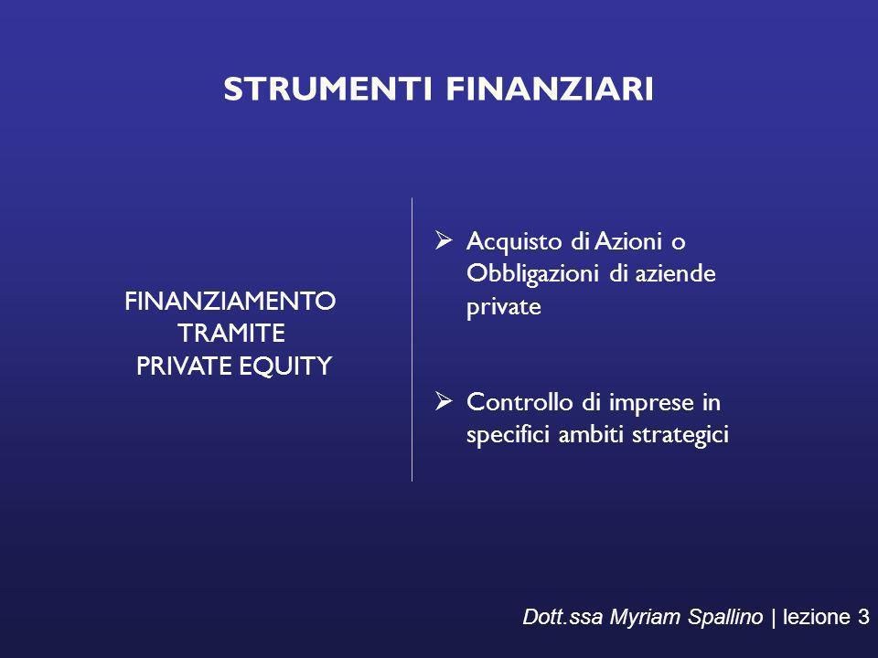 STRUMENTI FINANZIARI FINANZIAMENTO TRAMITE PRIVATE EQUITY Acquisto di Azioni o Obbligazioni di aziende private Controllo di imprese in specifici ambit