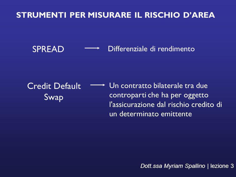 STRUMENTI PER MISURARE IL RISCHIO DAREA Dott.ssa Myriam Spallino | lezione 3 SPREAD Differenziale di rendimento Credit Default Swap Un contratto bilat