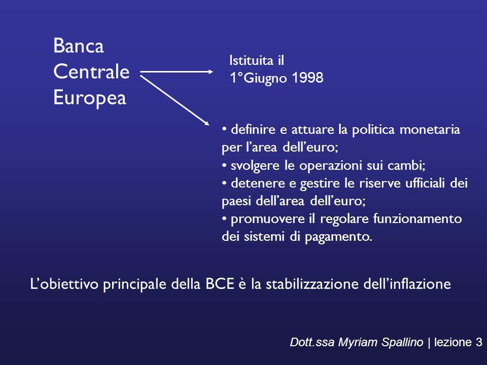 Dott.ssa Myriam Spallino | lezione 3 Banca Centrale Europea definire e attuare la politica monetaria per larea delleuro; svolgere le operazioni sui ca