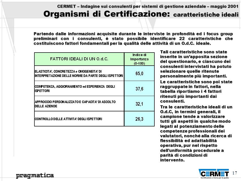 17 CERMET – Indagine sui consulenti per sistemi di gestione aziendale – maggio 2001 Organismi di Certificazione: caratteristiche ideali Partendo dalle
