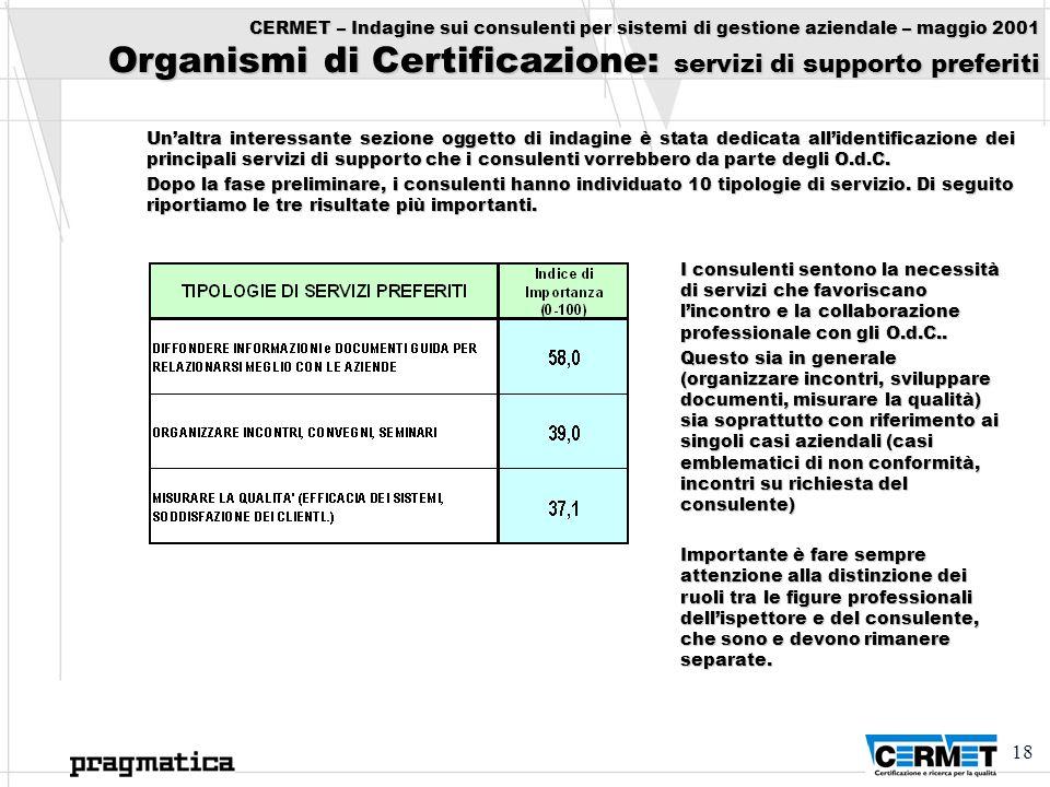18 CERMET – Indagine sui consulenti per sistemi di gestione aziendale – maggio 2001 Organismi di Certificazione: servizi di supporto preferiti Unaltra