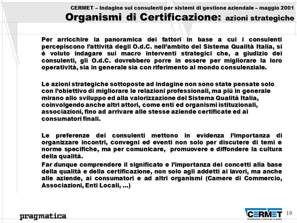 19 CERMET – Indagine sui consulenti per sistemi di gestione aziendale – maggio 2001 Organismi di Certificazione: azioni strategiche Per arricchire la