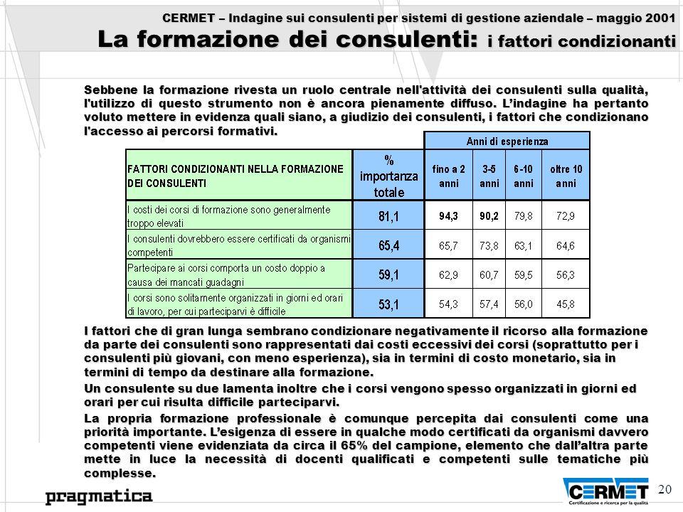 20 CERMET – Indagine sui consulenti per sistemi di gestione aziendale – maggio 2001 La formazione dei consulenti: i fattori condizionanti Sebbene la f