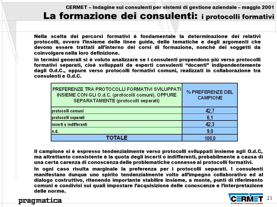 21 CERMET – Indagine sui consulenti per sistemi di gestione aziendale – maggio 2001 La formazione dei consulenti: i protocolli formativi Nella scelta