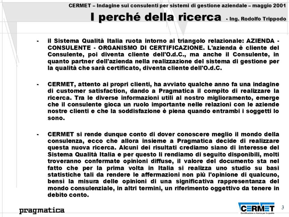 3 CERMET – Indagine sui consulenti per sistemi di gestione aziendale – maggio 2001 I perché della ricerca - Ing. Rodolfo Trippodo -il Sistema Qualità