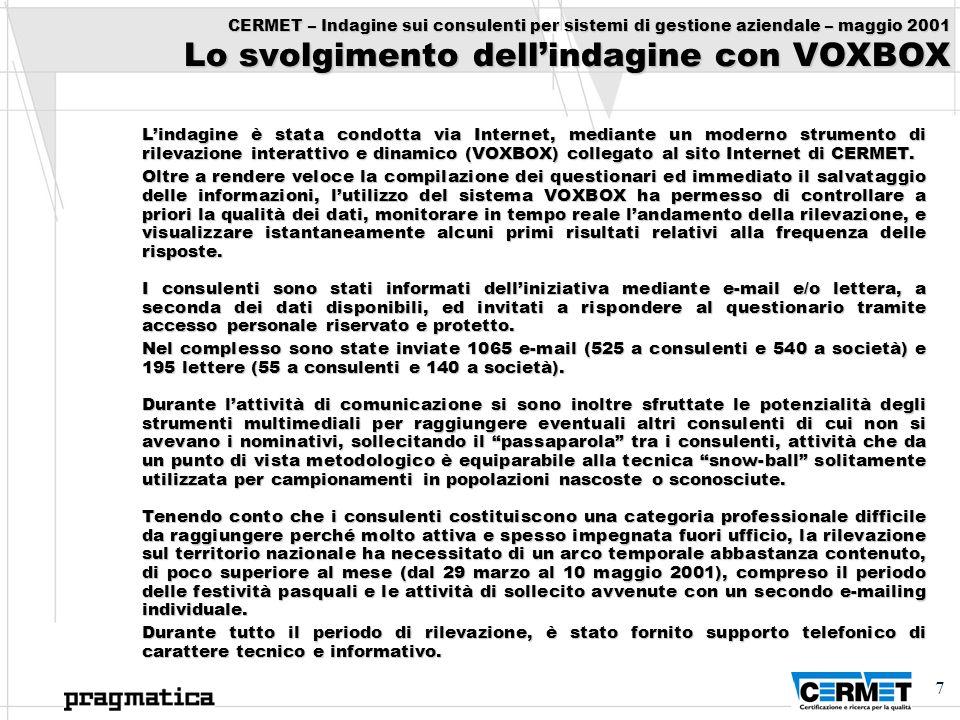 7 CERMET – Indagine sui consulenti per sistemi di gestione aziendale – maggio 2001 Lo svolgimento dellindagine con VOXBOX Lindagine è stata condotta v