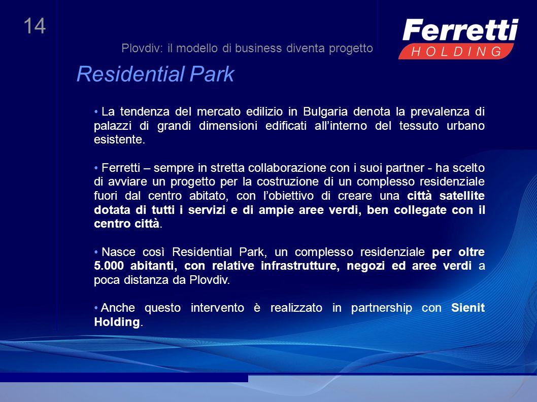 14 Residential Park La tendenza del mercato edilizio in Bulgaria denota la prevalenza di palazzi di grandi dimensioni edificati allinterno del tessuto