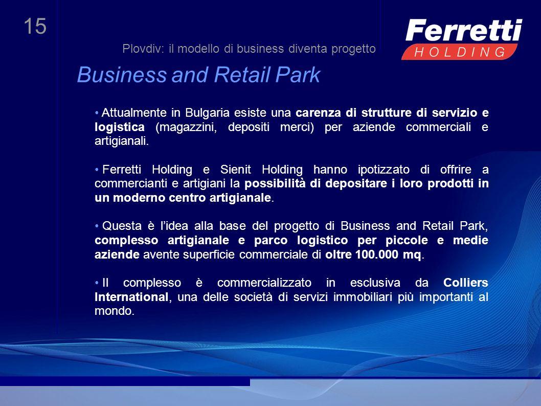 15 Business and Retail Park Attualmente in Bulgaria esiste una carenza di strutture di servizio e logistica (magazzini, depositi merci) per aziende co