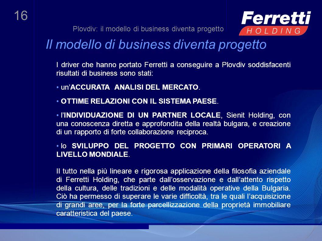 16 Il modello di business diventa progetto I driver che hanno portato Ferretti a conseguire a Plovdiv soddisfacenti risultati di business sono stati: