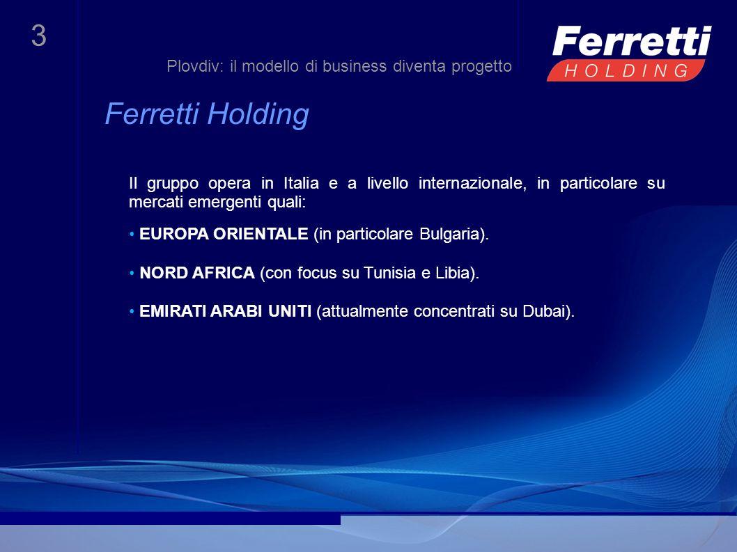 4 Il modello di business Plovdiv: il modello di business diventa progetto Ferretti Holding sviluppa i propri progetti sulla base di due elementi fondamentali: 1.uno studio approfondito della realtà geografica, sociale e di mercato in cui il gruppo va ad operare.