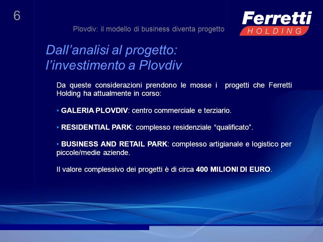 7 Galeria Plovdiv Le partnership per il progetto In linea con il proprio modello di business, Ferretti Holding, in collaborazione con Sienit Holding, ha costruito un network di competenze di altissimo livello in diversi ambiti: con la stessa SIENIT HOLDING, una delle maggiori imprese di costruzioni della Bulgaria, la cui attività copre lintero processo di costruzione, dalla ricerca delle aree, al progetto, alla realizzazione delle opere e successiva commercializzazione con lEUROPEAN CONVERGENCE DEVELOPMENT COMPANY (ECDC), fondo dinvestimento inglese quotato al London Stock Exchange, che opera principalmente nei paesi del sud-est Europa.