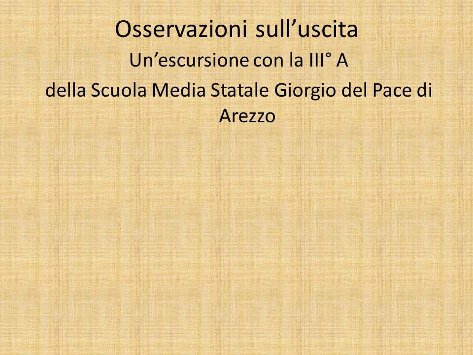 Osservazioni sulluscita Unescursione con la III° A della Scuola Media Statale Giorgio del Pace di Arezzo