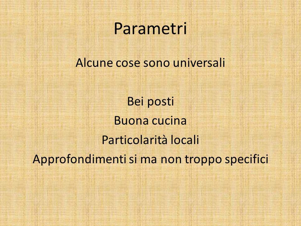 Parametri Alcune cose sono universali Bei posti Buona cucina Particolarità locali Approfondimenti si ma non troppo specifici