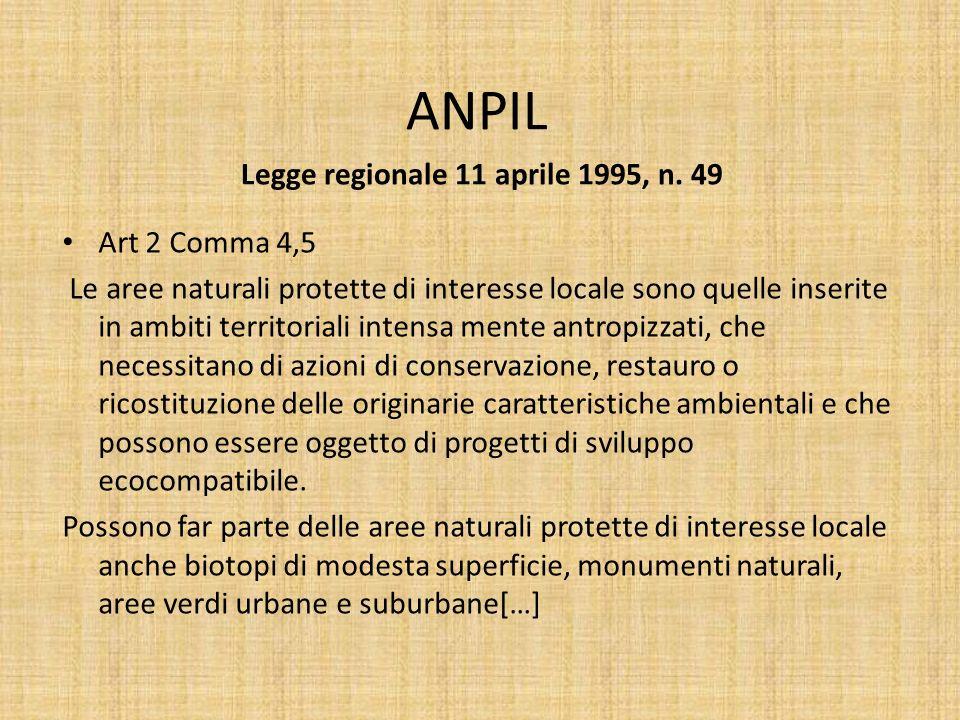 ANPIL Legge regionale 11 aprile 1995, n. 49 Art 2 Comma 4,5 Le aree naturali protette di interesse locale sono quelle inserite in ambiti territoriali