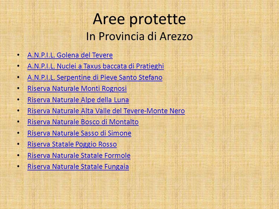 Aree protette In Provincia di Arezzo A.N.P.I.L. Golena del Tevere A.N.P.I.L. Nuclei a Taxus baccata di Pratieghi A.N.P.I.L. Serpentine di Pieve Santo