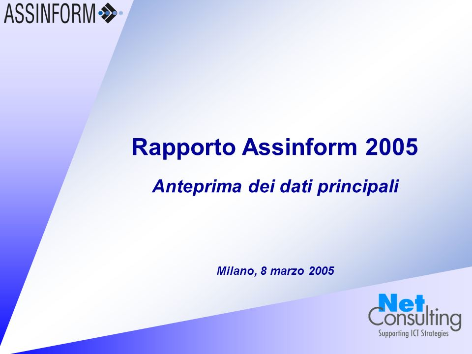 Rapporto Assinform 2005 8 marzo 2005 – Slide 1 Rapporto Assinform 2005 Anteprima dei dati principali e novità associative Pierfilippo Roggero Presidente Assinform Milano, 8 marzo 2005