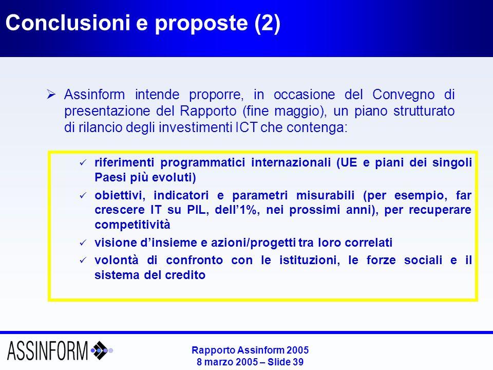 Rapporto Assinform 2005 8 marzo 2005 – Slide 39 Conclusioni e proposte (2) Assinform intende proporre, in occasione del Convegno di presentazione del