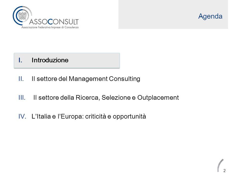 Export di servizi di consulenza Linternazionalizzazione delle società di Management Consulting registra una crescita decisiva passando dai 271 milioni di Euro del 2010 ai 330 milioni di Euro del 2011 (+22%).