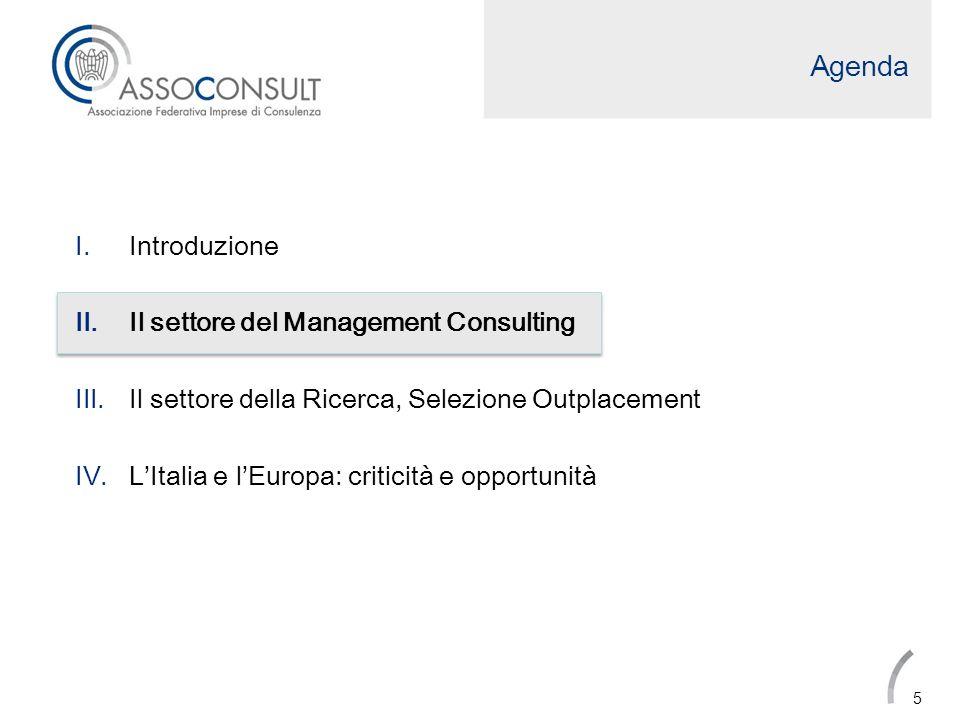 Agenda I.Introduzione II.Il settore del Management Consulting III.Il settore della Ricerca, Selezione e Outplacement IV.LItalia e lEuropa: opportunità e criticità 16