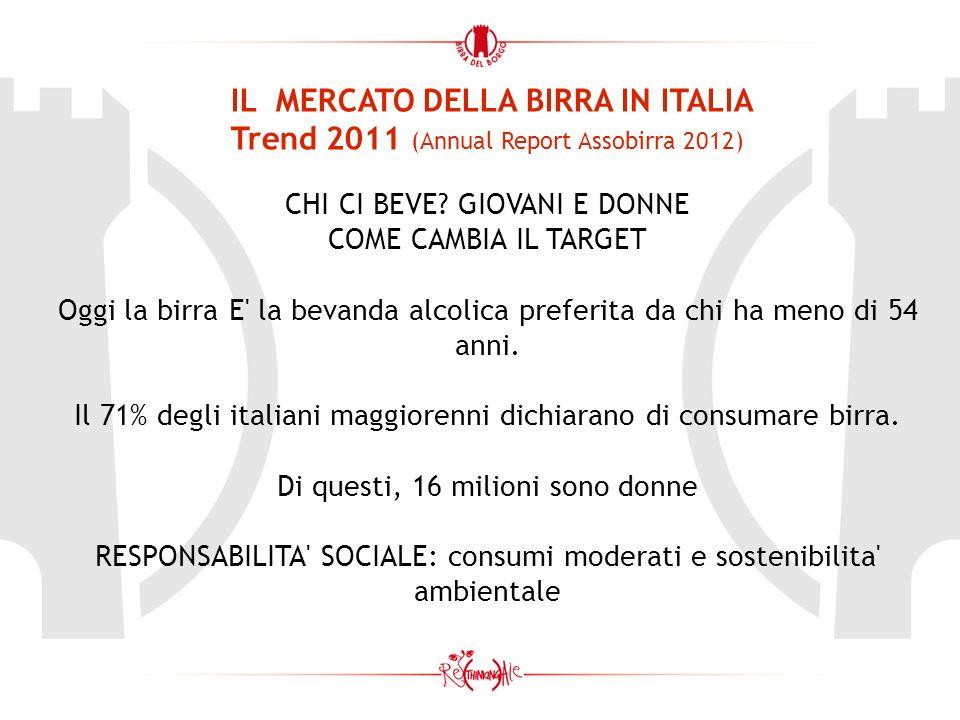 IL MERCATO DELLA BIRRA IN ITALIA Trend 2011 (Annual Report Assobirra 2012) CHI CI BEVE? GIOVANI E DONNE COME CAMBIA IL TARGET Oggi la birra E' la beva