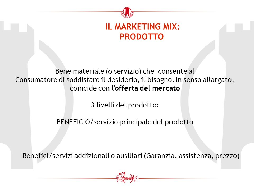 IL MARKETING MIX: PRODOTTO Bene materiale (o servizio) che consente al Consumatore di soddisfare il desiderio, il bisogno. In senso allargato, coincid
