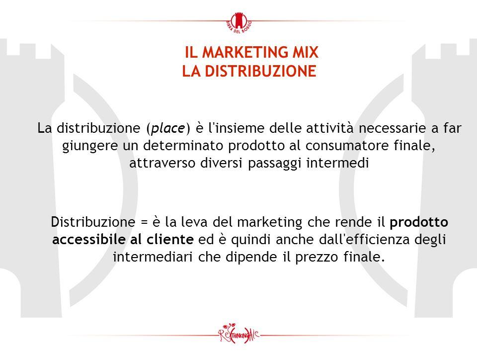 IL MARKETING MIX LA DISTRIBUZIONE La distribuzione (place) è l'insieme delle attività necessarie a far giungere un determinato prodotto al consumatore