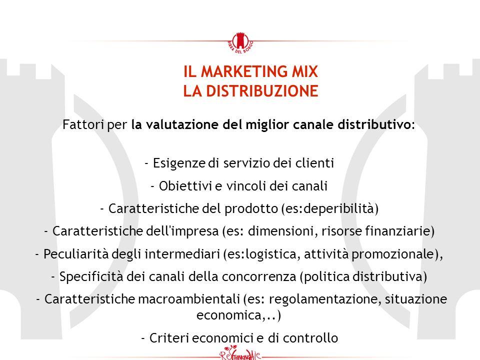 IL MARKETING MIX LA DISTRIBUZIONE Fattori per la valutazione del miglior canale distributivo: - Esigenze di servizio dei clienti - Obiettivi e vincoli dei canali - Caratteristiche del prodotto (es:deperibilità) - Caratteristiche dell impresa (es: dimensioni, risorse finanziarie) - Peculiarità degli intermediari (es:logistica, attività promozionale), - Specificità dei canali della concorrenza (politica distributiva) - Caratteristiche macroambientali (es: regolamentazione, situazione economica,..) - Criteri economici e di controllo