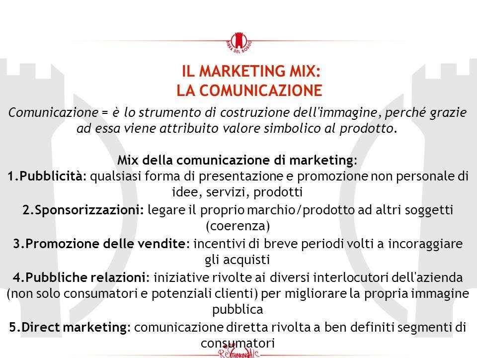 IL MARKETING MIX: LA COMUNICAZIONE Comunicazione = è lo strumento di costruzione dell immagine, perché grazie ad essa viene attribuito valore simbolico al prodotto.