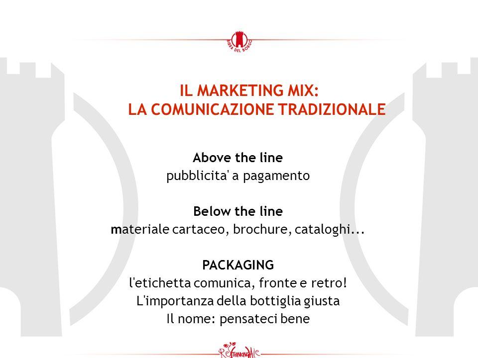 IL MARKETING MIX: LA COMUNICAZIONE TRADIZIONALE Above the line pubblicita' a pagamento Below the line materiale cartaceo, brochure, cataloghi... PACKA