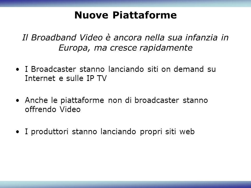 Nuove Piattaforme Il Broadband Video è ancora nella sua infanzia in Europa, ma cresce rapidamente I Broadcaster stanno lanciando siti on demand su Int