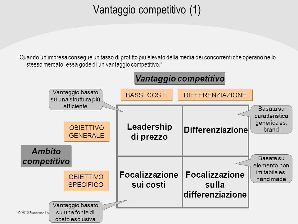 | R a g i o n e S o c i a l e | © 2010 Francesca Liverani Vantaggio competitivo (1) Quando unimpresa consegue un tasso di profitto più elevato della m