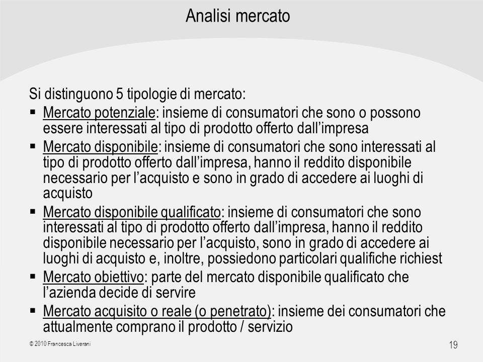 | R a g i o n e S o c i a l e | 19 © 2010 Francesca Liverani Analisi mercato Si distinguono 5 tipologie di mercato: Mercato potenziale: insieme di con